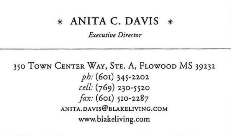 anita davis business card