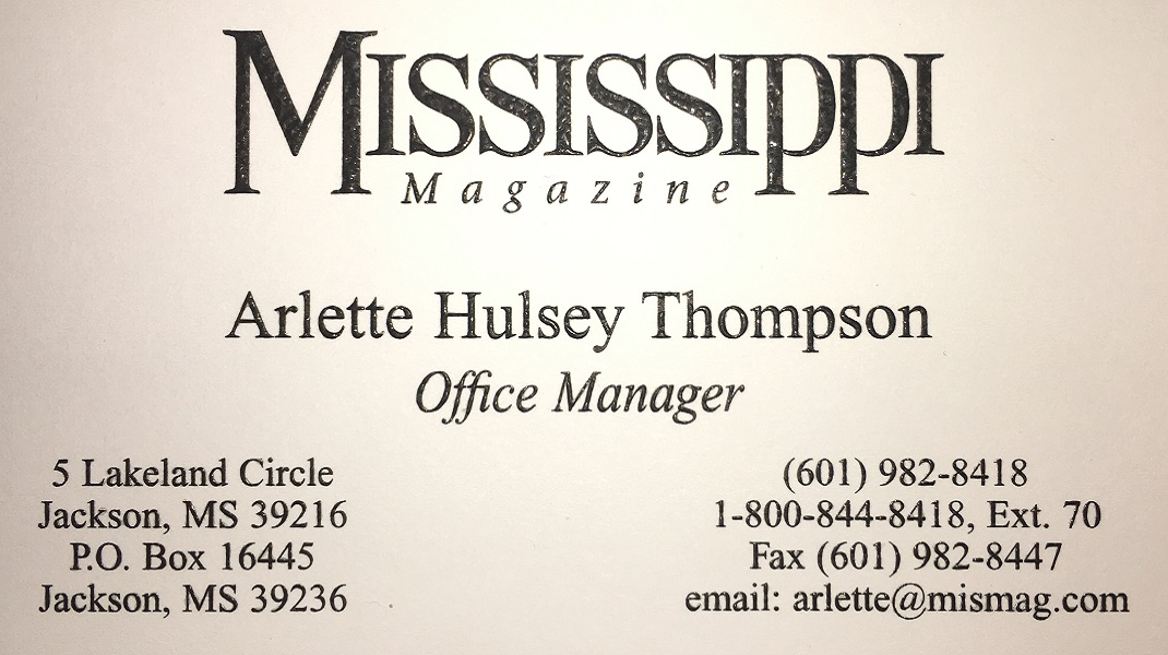 Arlette Thompson, Mississippi Magazine